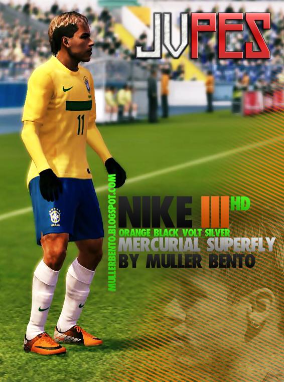 Chuteira Nike Mercurial Superfly III HD Orange_Black_Volt_Silver, Chuteira que esta atualmente sendo usada por vários craques, como Neymar, Cristiano Ronaldo, Robinho, etc. para PES 2011 Download, Baixar Chuteira Nike Mercurial Superfly III HD Orange_Black_Volt_Silver para PES 2011