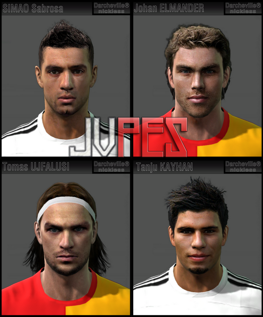 Face de Simão Sabrosa do Besiktas, Face de Johan Elmander do Galatasaray, Face de Tomás Ujfalusi do Galatasaray e Face de Tanju Kayhan do Besiktas para PES 2011 Download, Baixar Faces de Simão, Elmander, Ujfalusi e Kayhan para PES 2011