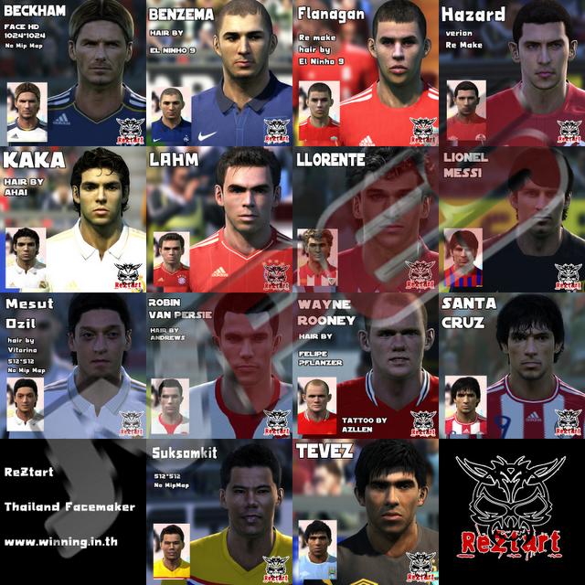 Face de Beckham (LA Galaxy), Face de Benzema (Real Madrid), Face de Flanagan (Liverpool), Face de Hazard (Lille), Face de Kaká (Real Madrid), Face de Lahm (Bayern de Munique), Face de Llorente (Athletic Bilbao), Face de Messi (Barcelona), Face de Özil (Real Madrid), Face de Van Persie (Arsenal), Face de Rooney (Manchester United), Face de Santa Cruz (Blackburn), Face de Suksamkit (Bangkok Glass) e Face de Tévez (Manchester City) para PES 2011 Download