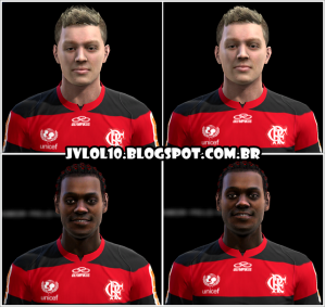 Face de Adryan e Face de Vágner Love Ambos do Flamengo para PES 2012 Download, Baixar Faces de Adryan e Vágner Love para PES 2012